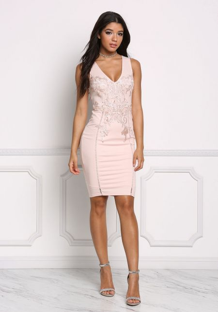 Blush Deep V Embroidered Bodycon Dress