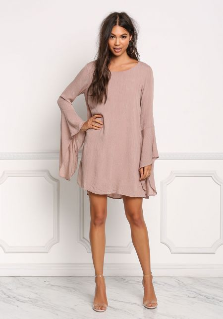 Mauve Pinstripe Shimmer Bell Sleeve Dress