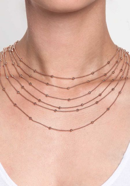 Rose Gold Thin Beaded Layered Necklace