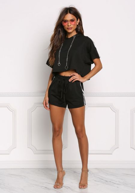 Black Side Stripe Elastic Shorts