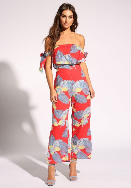 Red Strapless Leaf Palazzo Jumpsuit