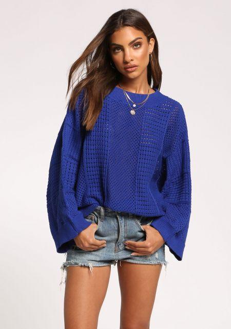 Royal Blue Eyelet Knit Sweater Top