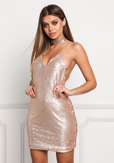 Rose Gold Sequin Slip Shift Dress