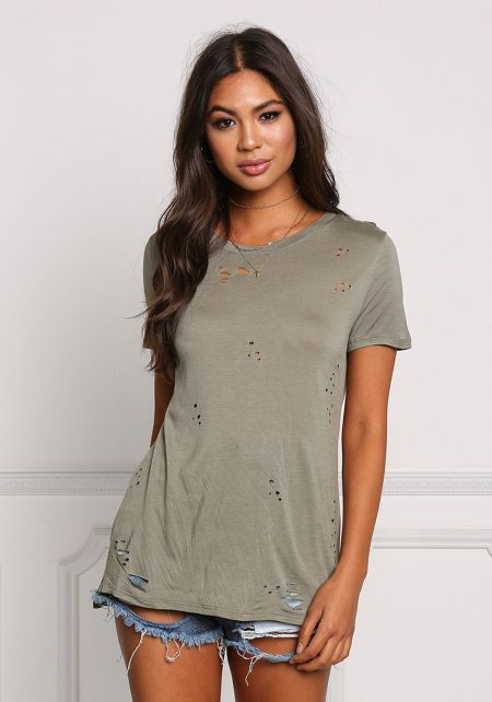 Olive Distressed Jersey Knit Tee