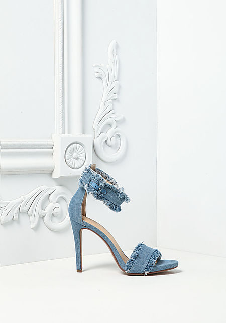 Light Denim Frayed Ankle Strap Heels