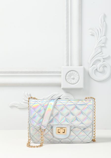 Silver Holographic Quilted Chain Crossbody Bag