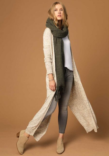 Olive Soft Thick Knit Scarf