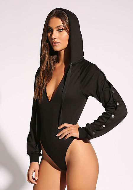 Black Plunge Button Sleeve Hooded Bodysuit