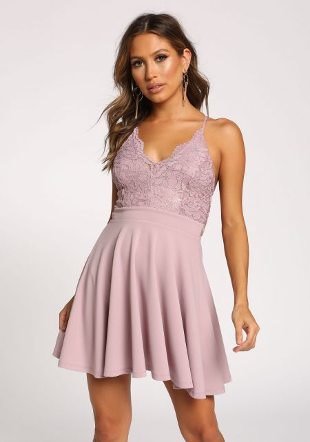 Lilac Metallic Lace Cross Strap Flared Dress