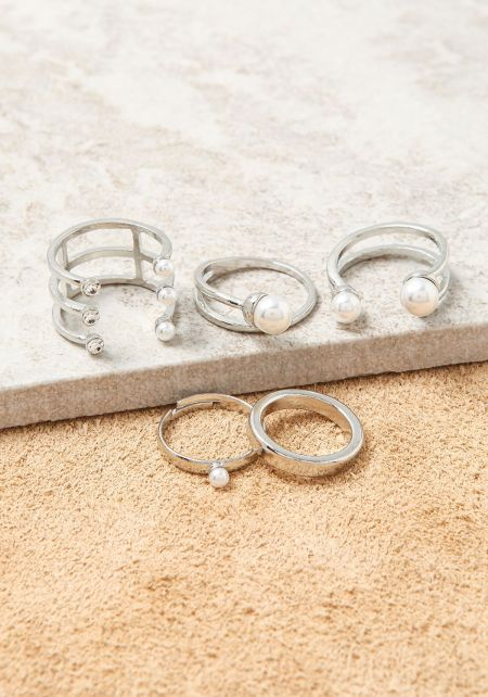 Silver Pearl Assorted Rings Set