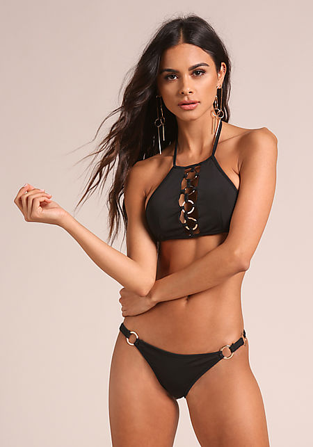 Black Hoop Swimsuit Bikini Bottoms
