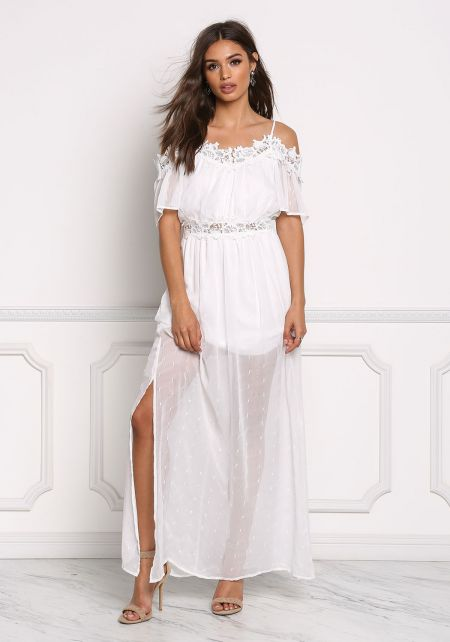 Off White Gauze Cold Shoulder Crochet Trim Slit Ma