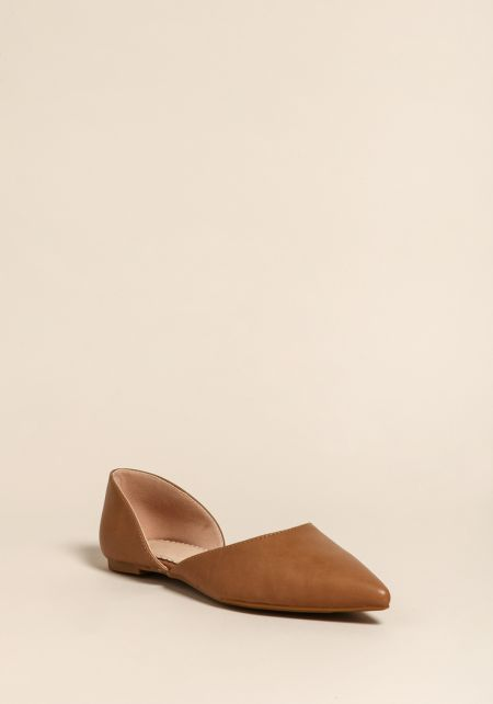 Taupe Leatherette Pointed Toe Flats
