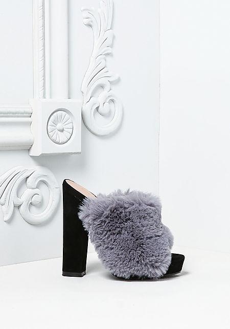 Grey Fuzzy Faux Fur Mule Heels