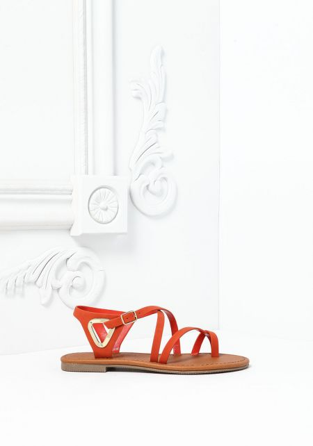 Orange Leatherette Cross Sandals