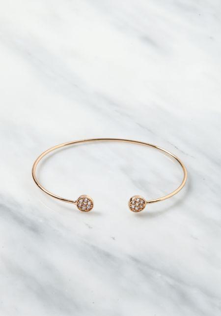 Gold Rhinestone Thin Cuff Bracelet
