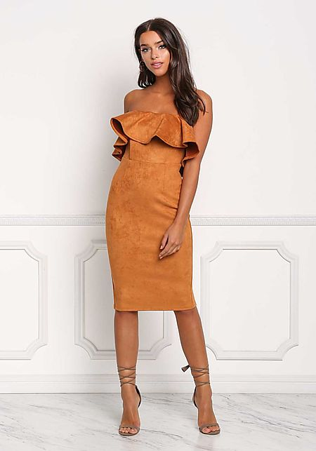 Camel Suedette Strapless Ruffle Bodycon Dress