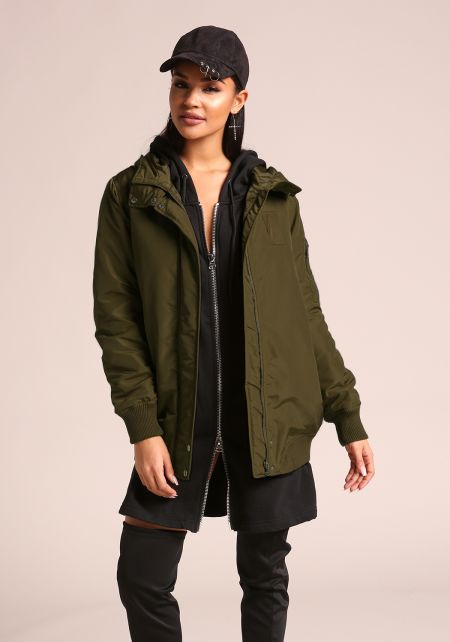 Dark Olive Hooded Bomber Jacket