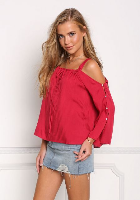 Red Cold Shoulder Buttoned Sleeve Blouse