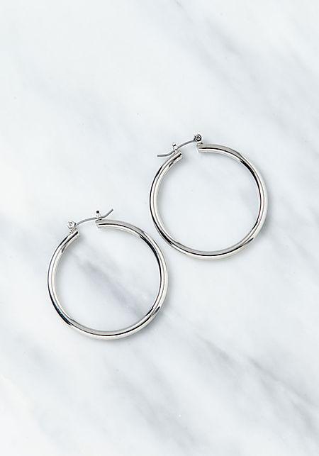 Silver Thick Hoop Earrings