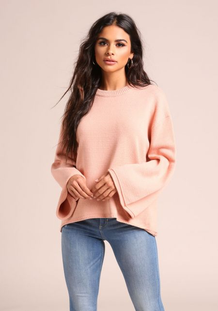 Blush Bell Sleeve Hi-Lo Sweater Top