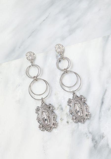 Silver Hoop Pendant Drop Earrings