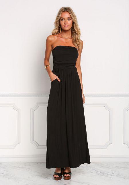 Black Strapless Ruched Pocket Maxi Dress
