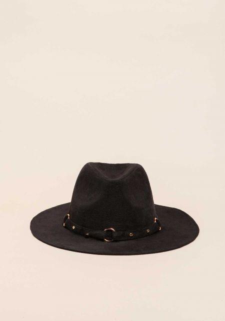 Black Suedette Studded Floppy Hat