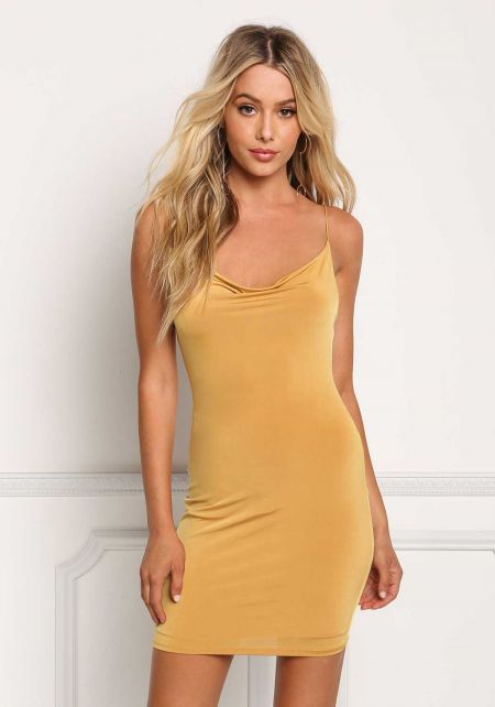 Mustard Low Back Sleek Bodycon Dress