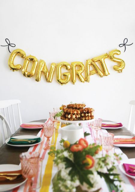 Congrats Gold Foil Balloon Set