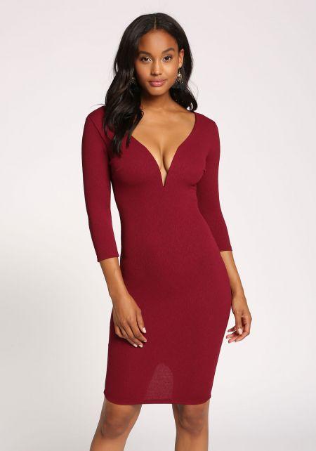 Burgundy Plunge Textured Bodycon Dress