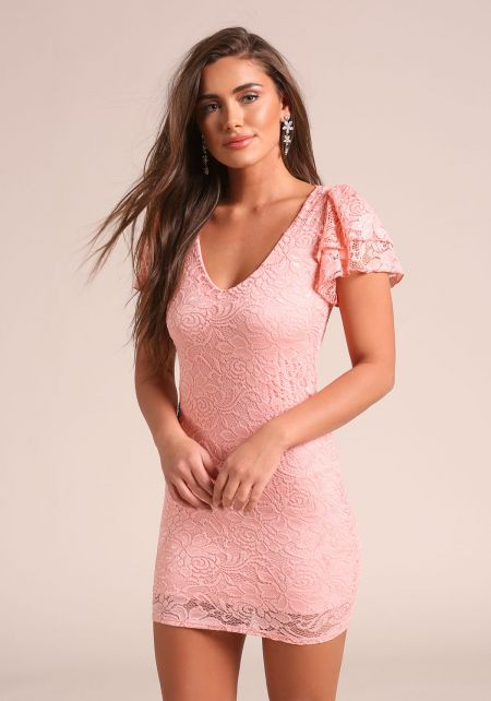 Blush Tiered Sleeve Lace Bodycon Dress