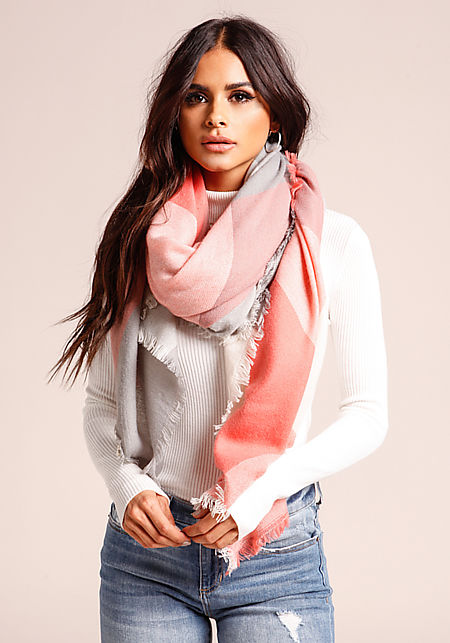 Peach Large Checkered Scarf