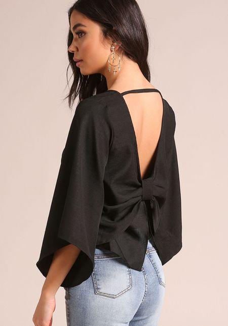 Black Bow Back Bell Sleeve Blouse