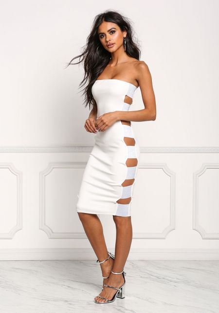 Ivory Side Shimmer Bandage Cut Out Bodycon Dress
