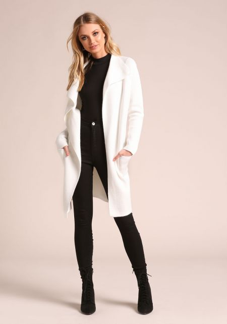 Ivory Cinched Longlined Thick Knit Cardigan
