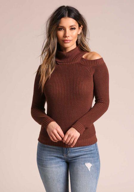 Brown Mock Neck Cold Shoulder Sweater Top
