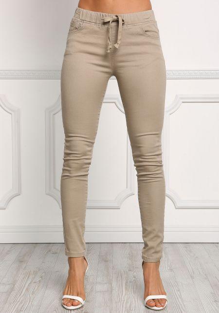 Khaki Drawstring Skinny Jeans
