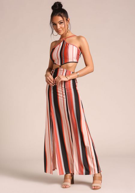 Rust Cut Out Two Slit Maxi Dress