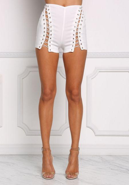 White High Rise Lace Up Shorts