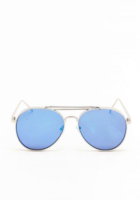 Blue Thick Aviator Mirrored Sunglasses