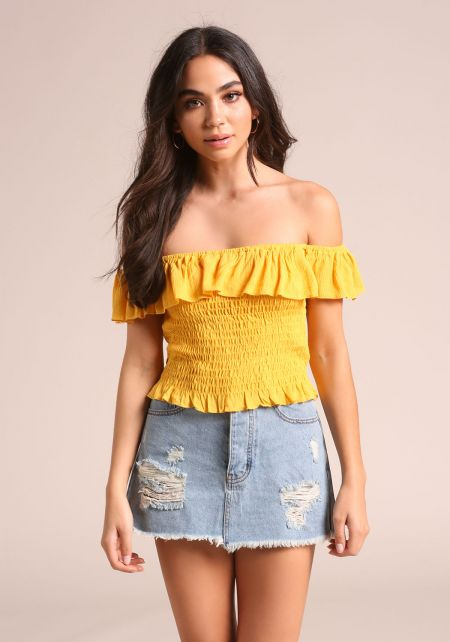 Mustard Off Shoulder Smocked Crop Top