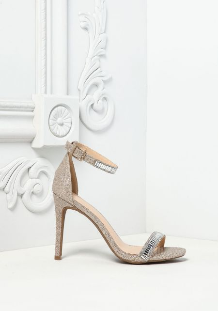 Rose Gold Rhinestone Shimmer Ankle Strap Heels
