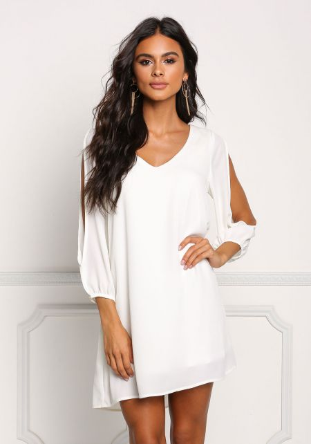 Ivory Chiffon Sleeve Slit Shift Dress