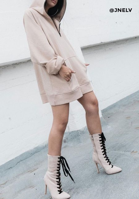 Cape Robbin Nude Lace Up Ankle Booties