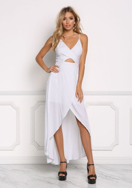 Off White Pinstripe Surplice Maxi Dress