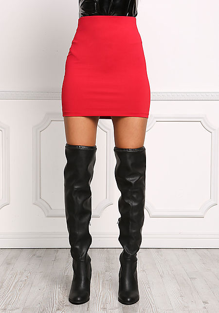 Red High Rise Sleek Skirt