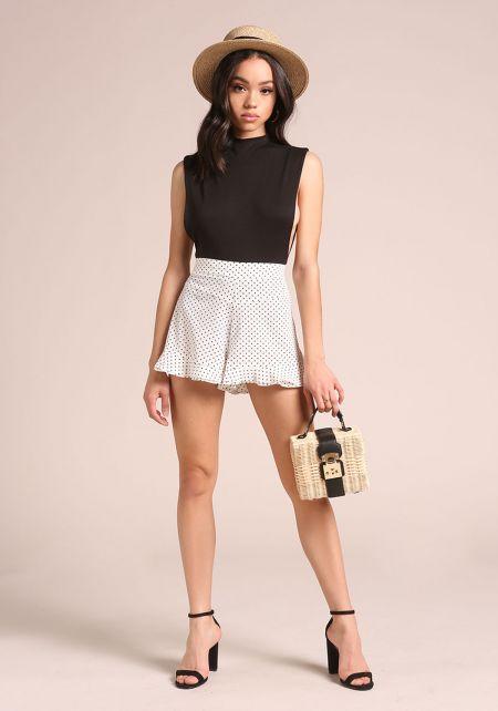White Polka Dot Ruffle Shorts