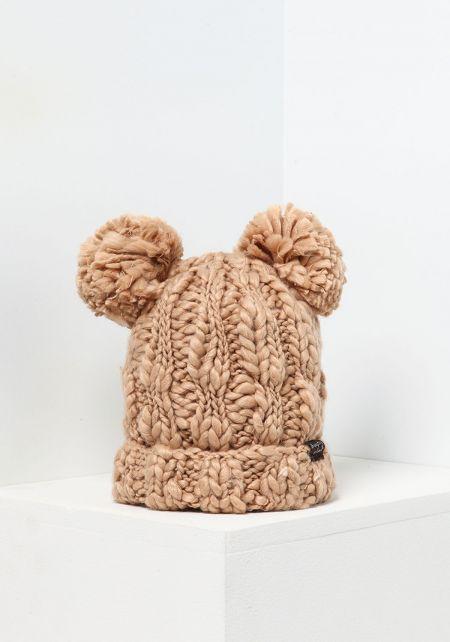 Camel Chunky Knit Pom Pom Beanie