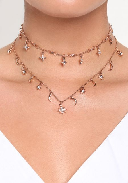 Rose Gold Star & Moon Rhinestone Choker
